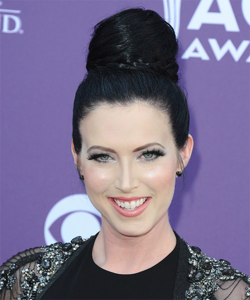 Shawna Thompson  Long Straight Formal   Updo Hairstyle   - Black Ash  Hair Color