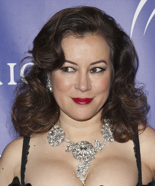 Jennifer Tilly Medium Wavy Dark Brunette Hairstyle