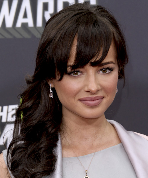 Ashley Rickards Long Wavy Formal   Hairstyle with Side Swept Bangs  - Dark Brunette