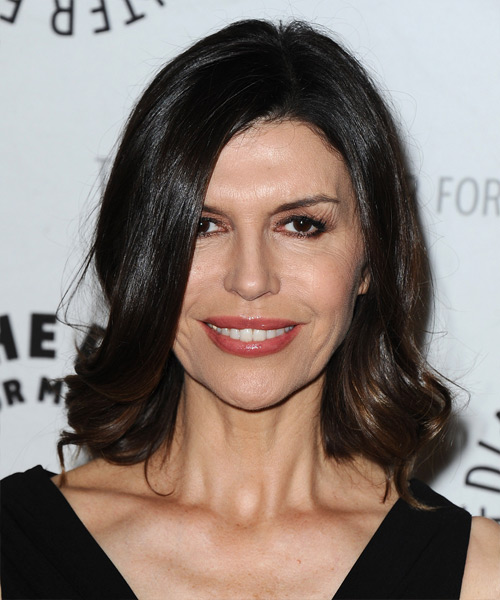 Finola Hughes Medium Straight Formal   Hairstyle   - Dark Brunette
