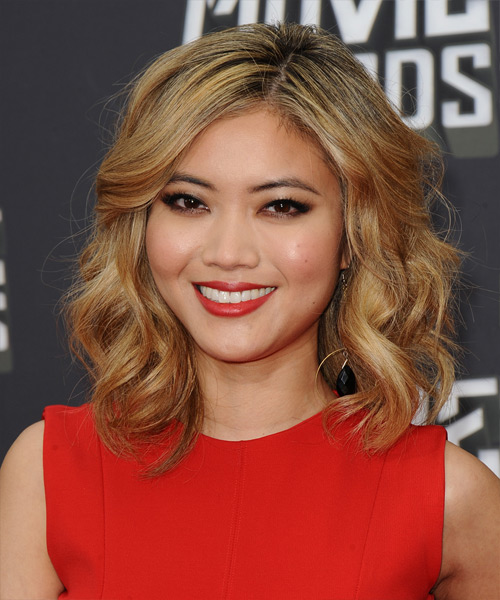 Jessica Lu Medium Wavy Formal    Hairstyle   - Dark Golden Blonde Hair Color with Light Blonde Highlights