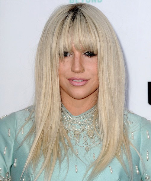 Kesha Long Straight Casual   Hairstyle with Blunt Cut Bangs  - Light Blonde (Platinum)