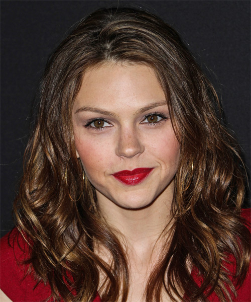 Aimee Teegarden Long Wavy    Brunette   Hairstyle   with  Blonde Highlights