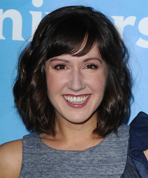 Kelly Vrooman Medium Wavy Casual   Hairstyle with Side Swept Bangs  - Dark Brunette