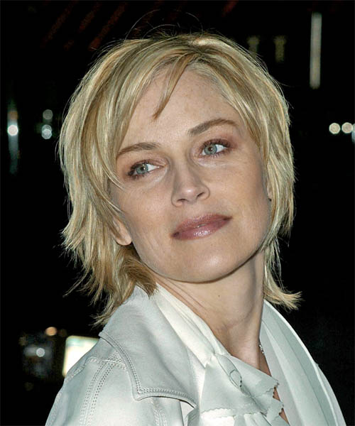 Sharon Stone Medium Straight Casual   Hairstyle