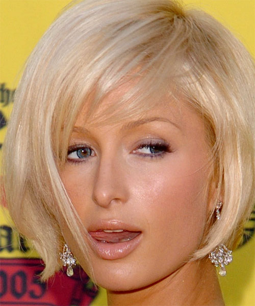 Paris Hilton Short Straight Casual  Bob  Hairstyle with Side Swept Bangs
