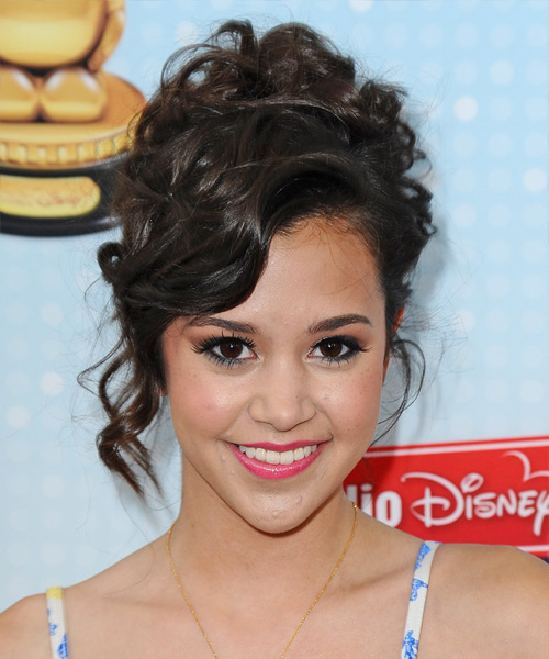 Megan Nicole  Long Curly Formal   Updo Hairstyle with Side Swept Bangs  - Dark Brunette Hair Color