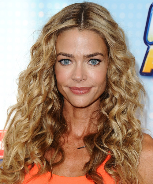 Denise Richards Long Curly Casual Hairstyle - Medium Honey Blonde Hair Color with Light Blonde Highlights