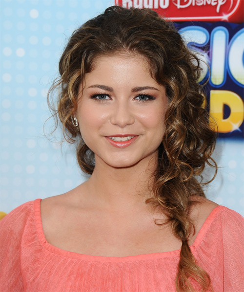 Sofia Reyes   Long Curly Casual  Braided Half Up Hairstyle   -  Brunette Hair Color with Dark Blonde Highlights