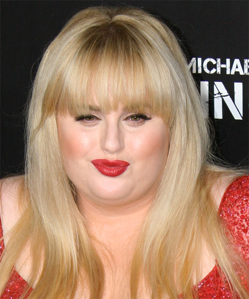 Rebel Wilson  Long Straight Casual   Hairstyle with Blunt Cut Bangs  - Light Blonde