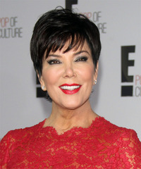Kris Jenner Short Straight Formal    Hairstyle with Layered Bangs  - Black  Hair Color