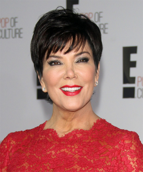 Kris Jenner Short Straight Formal   Hairstyle with Layered Bangs  - Black