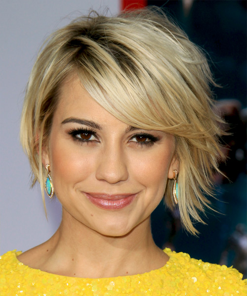 Chelsea Kane Short Straight Casual    Hairstyle with Side Swept Bangs  - Light Blonde Hair Color