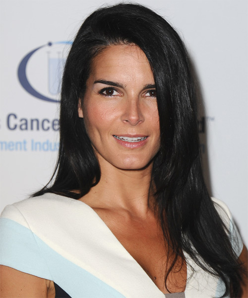 Angie Harmon Formal Long Straight Hairstyle Black Hair Color