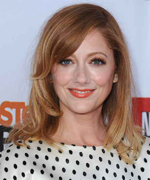 Judy Greer Medium Straight   Light Strawberry Red   Hairstyle with Side Swept Bangs  and Light Blonde Highlights
