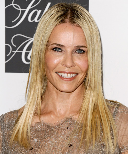 Chelsea Handler Long Straight Casual    Hairstyle   -  Golden Blonde Hair Color