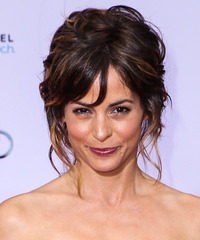 Stephanie Szostak  Long Curly Formal   Updo Hairstyle   - Dark Mocha Brunette Hair Color with Dark Blonde Highlights