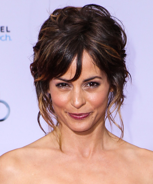 Stephanie Szostak  Long Curly   Dark Mocha Brunette  Updo    with Dark Blonde Highlights