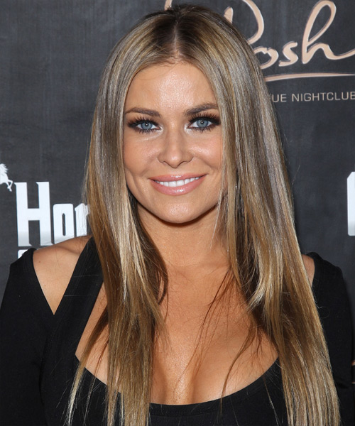 Carmen Electra Long Straight   Light Caramel Brunette   Hairstyle   with Light Blonde Highlights