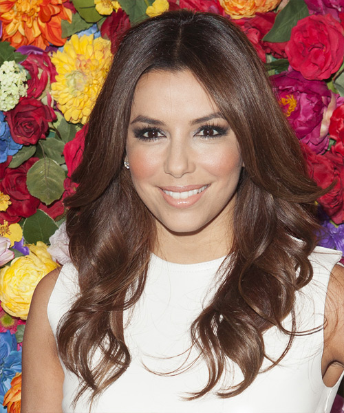Eva Longoria Parker Long Wavy Formal    Hairstyle   -  Chocolate Brunette Hair Color