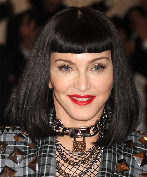 Madonna Medium Straight   Black  Bob  Haircut with Blunt Cut Bangs