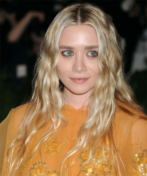 Ashley Olsen Long Wavy Casual    Hairstyle   - Light Golden Blonde Hair Color