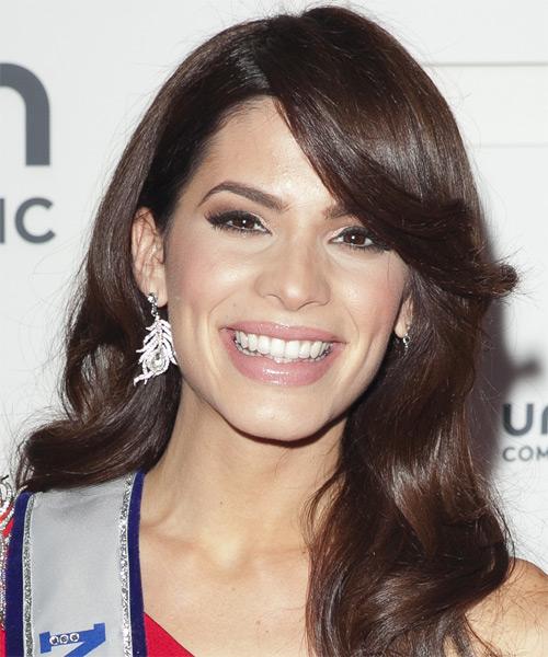 Viviana Ortiz Long Wavy Dark Chocolate Brunette Hairstyle