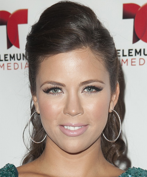 Ximena Duque Half Up Long Curly Formal Wedding Half Up Hairstyle   - Medium Brunette