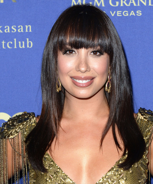 Cheryl Burke Long Straight Formal   Hairstyle with Blunt Cut Bangs  - Dark Brunette (Mocha)