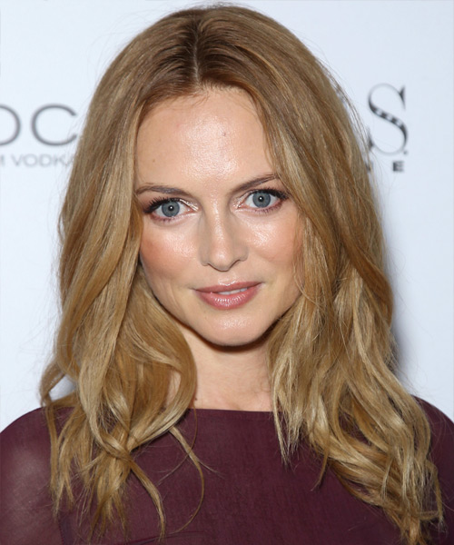 Heather Graham Medium Wavy Casual    Hairstyle   -  Copper Blonde Hair Color