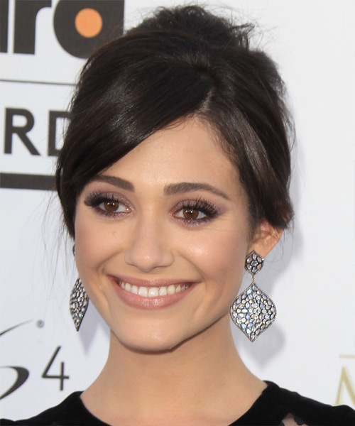 Emmy Rossum Updo Long Straight Formal  Updo Hairstyle
