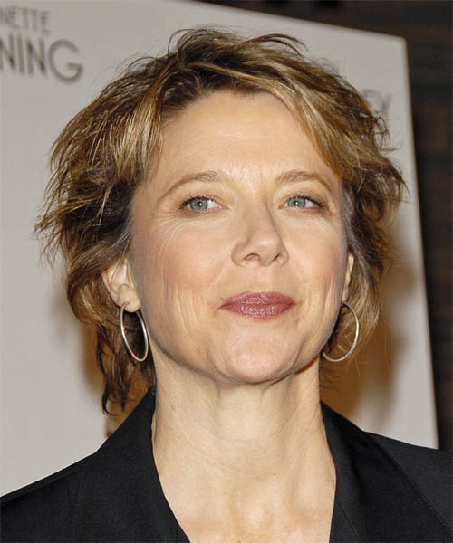 Annette Bening Short Wavy Casual   Hairstyle