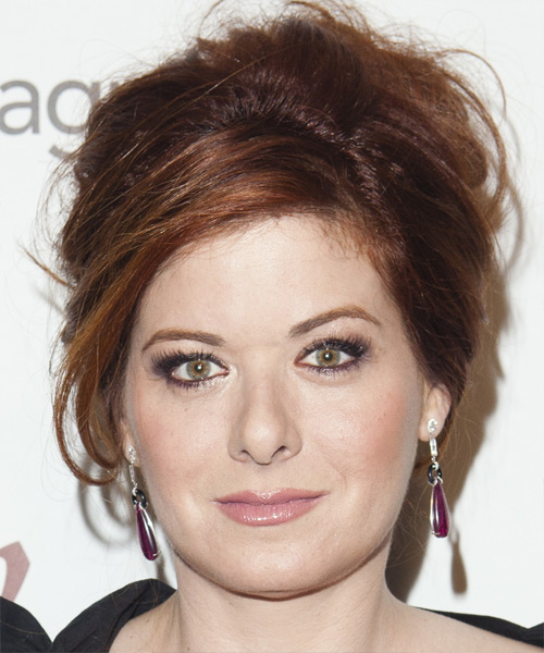 Debra Messing  Long Straight Casual   Updo Hairstyle