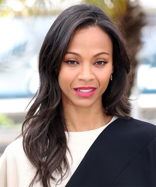 Zoe Saldana Long Straight Casual   Hairstyle