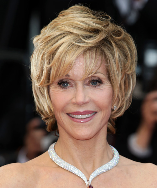 Jane Fonda Short Straight Formal    Hairstyle with Layered Bangs  -  Blonde Hair Color