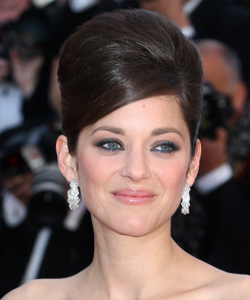 Marion Cotillard  Long Straight Formal   Updo Hairstyle   - Dark Chocolate Brunette Hair Color