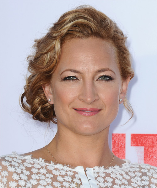 Zoe Bell  Long Curly Formal   Updo Hairstyle   - Light Copper Brunette Hair Color with Light Blonde Highlights
