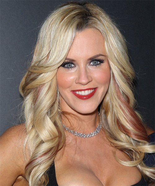 Jenny McCarthy Long Wavy Formal    Hairstyle   -  Blonde Hair Color with  Red Highlights
