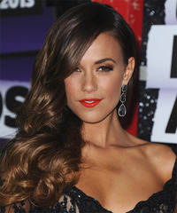 Jana Kramer Long Wavy Formal    Hairstyle   - Dark Brunette Hair Color