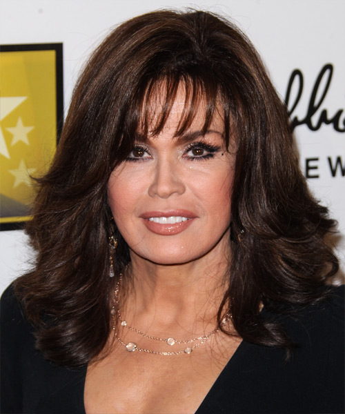 Marie Osmond Medium Straight Formal    Hairstyle with Layered Bangs  - Dark Mocha Brunette Hair Color