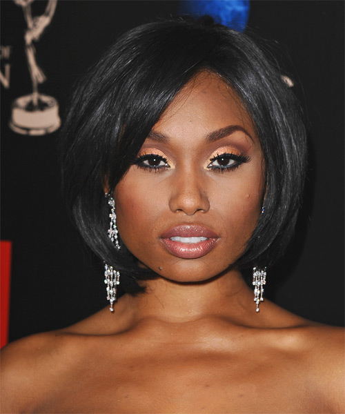 Angell Conwell Medium Straight Formal Bob  Hairstyle   - Black