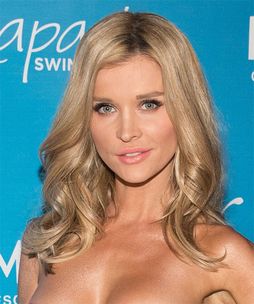 Joanna Krupa Long Wavy Casual    Hairstyle   - Medium Champagne Blonde Hair Color