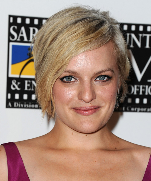 Elisabeth Moss Short Straight Casual    Hairstyle   - Medium Blonde Hair Color with Light Blonde Highlights