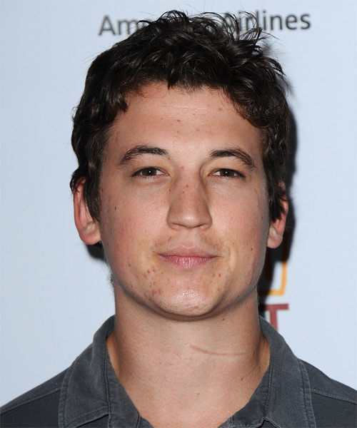Miles Teller Short Wavy Casual   Hairstyle   - Dark Brunette