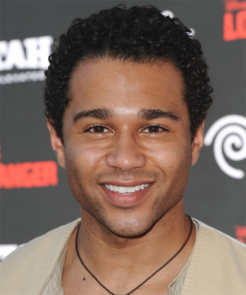 Corbin Bleu Short Curly Casual  Afro  Hairstyle   - Black  Hair Color