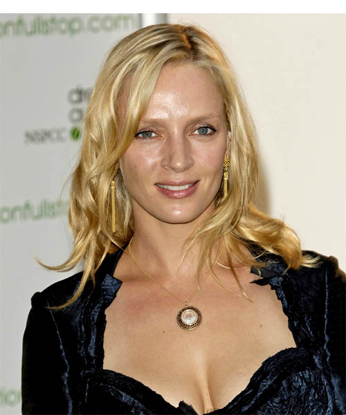 Uma Thurman Long Wavy Casual   Hairstyle