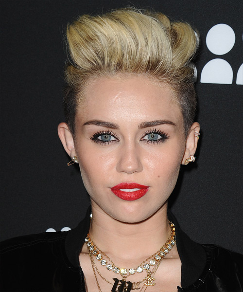 Miley Cyrus Short Straight Casual  Undercut  Hairstyle   - Light Blonde Hair Color