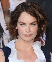 Ruth Wilson Short Wavy Casual    Hairstyle   - Dark Brunette Hair Color
