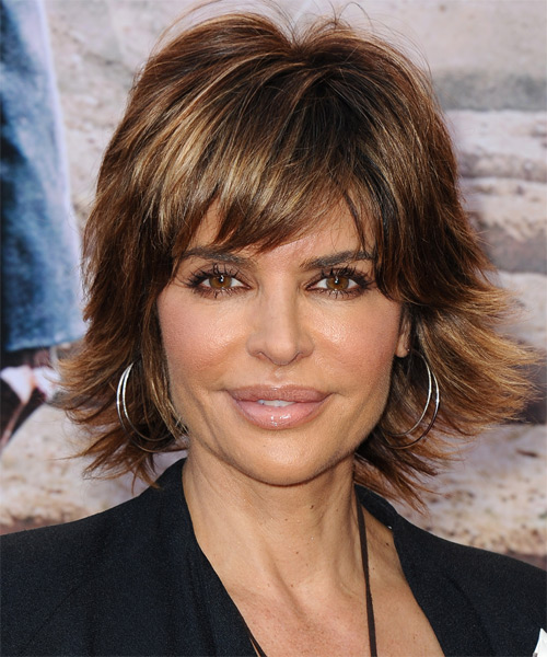Lisa Rinna Short Straight Casual    Hairstyle with Razor Cut Bangs  -  Brunette Hair Color with  Blonde Highlights