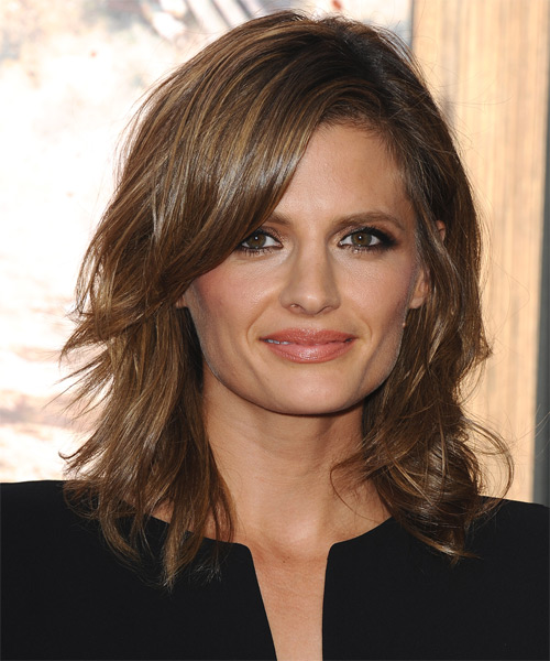 Stana Katic Medium Straight Hairstyle for Square Face Shapes.
